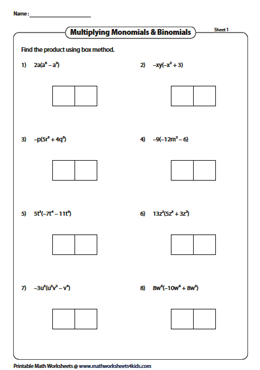 Multiply monomials and binomials using the box method