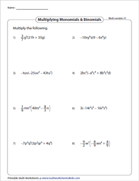 Multiply Monomials by Binomials - Multivariable