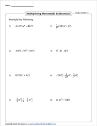 Multiply Monomials by Binomials - Single Variable