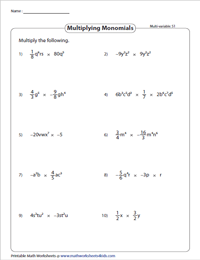 Multiplying Monomials - Multivariable
