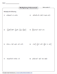 Multiplying Monomials by Polynomials - Multivariable