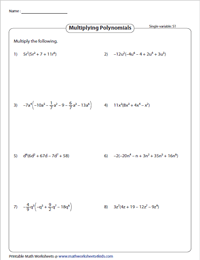 Multiplying Monomials by Polynomials - Single Variable