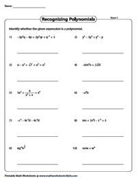 Recognizing Polynomials Worksheets | Parts of Polynomials
