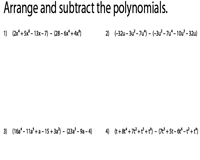 subtracting polynomial worksheets arrange single variable