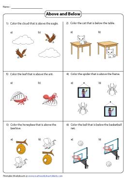 Above And Below Worksheets - 49+ Printable Position Worksheets For Kindergarten Background