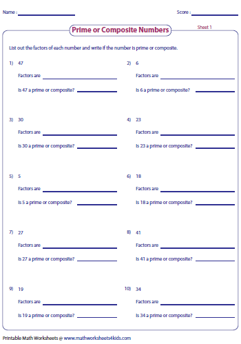 Prime and Composite Numbers - Worksheets and Charts