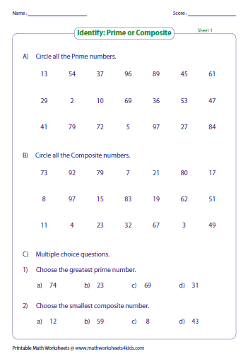 Prime Numbers Worksheet Year 7