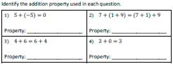 Addition properties worksheet