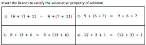 Associative property of addition worksheets