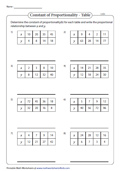 Constant Of Proportionality Worksheet Answers Proga Info