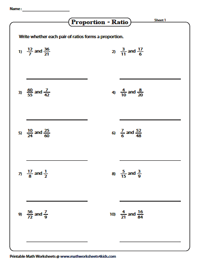 Proportions Worksheets