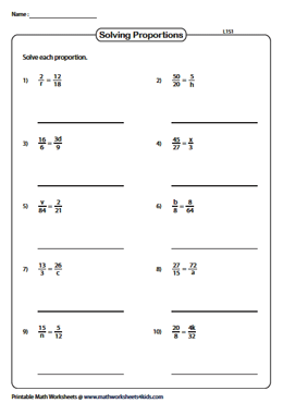 Solving Proportions Worksheets