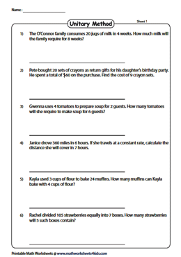 Unit Rates Worksheets With Word Problems