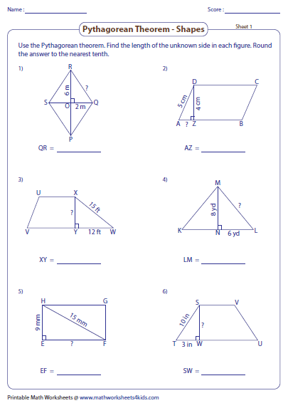 Printables Pythagorean Theorem Worksheet pythagorean theorem worksheets finding missing length shapes