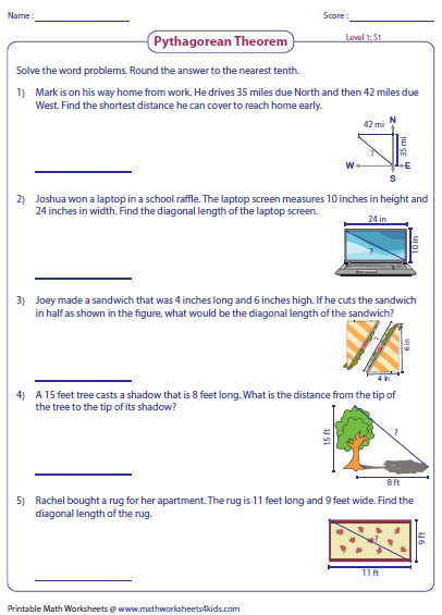 Worksheets Pythagorean Theorem Word Problems Worksheets pythagorean theorem worksheets word problems