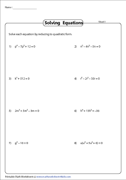 Higher Degree Equations - Substitution Method
