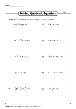 Quadratic Formula - Moderate
