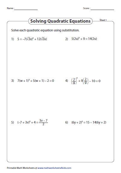 Quadratic Formula Worksheets