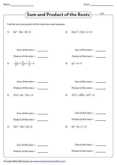 Sum and Product of the Roots Worksheets