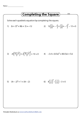 Solving Quadratic Equations by Completing the Squares - Difficult