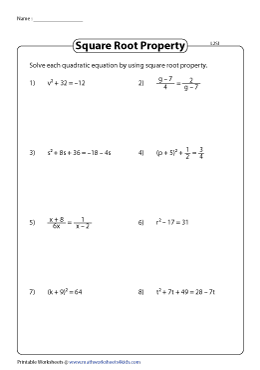 Solve quadratic equations by taking square roots - Type 1