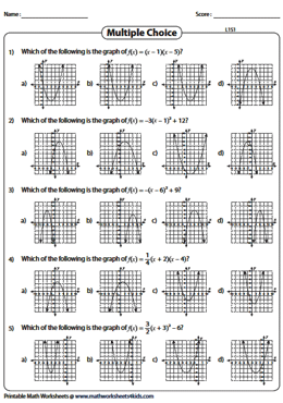 Graphing Quadratic Function Worksheets