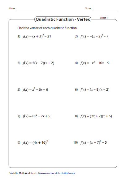 Quadratic Function Worksheets