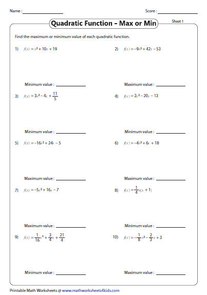 how to find the minimum value of a quadratic function