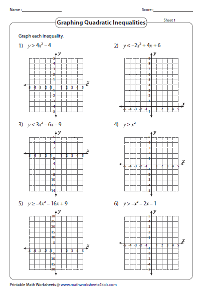 Graphing quadratic inequalities worksheets free