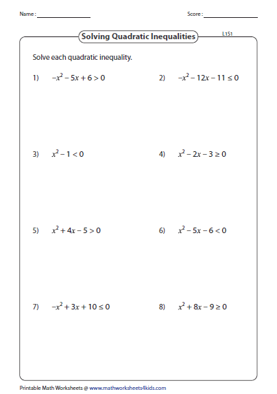 Solving Quadratic Inequalities Worksheet 008 - Solving Quadratic Inequalities Worksheet