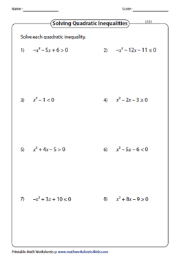 Quadratic Inequalities Worksheets