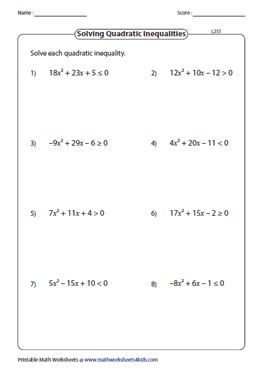 Solve Quadratic Inequalities: Level 2