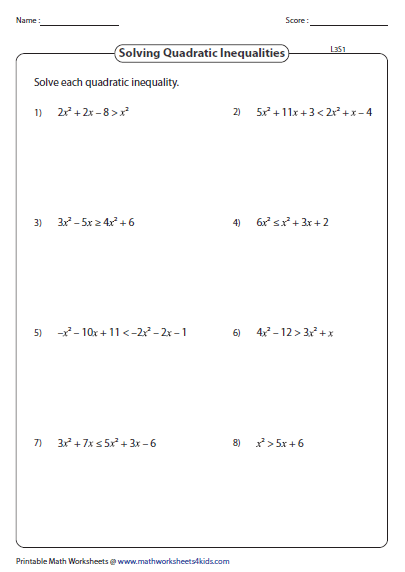 Solving Quadratic Inequalities Worksheet 009 - Solving Quadratic Inequalities Worksheet
