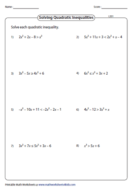 Solve Quadratic Inequalities: Level 3
