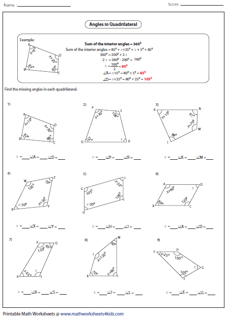 Worksheets Sum Of Interior Angles Worksheet quadrilateral worksheets algebra unknown angles