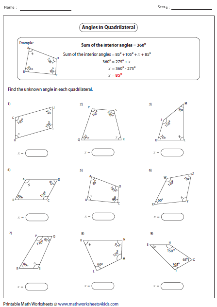 Practice problems, worksheets, and videos on Quadrilateral Angles ...