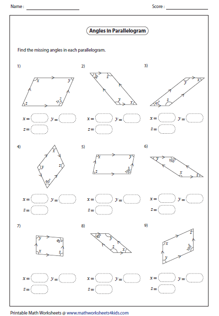 Worksheets Properties Of Parallelograms Worksheet quadrilateral worksheets angles in a unknown parallelogram