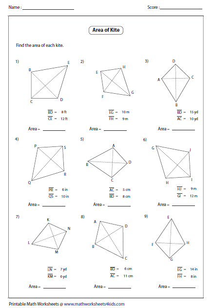 Printables Area Of A Trapezoid Worksheet quadrilateral worksheets area of kite