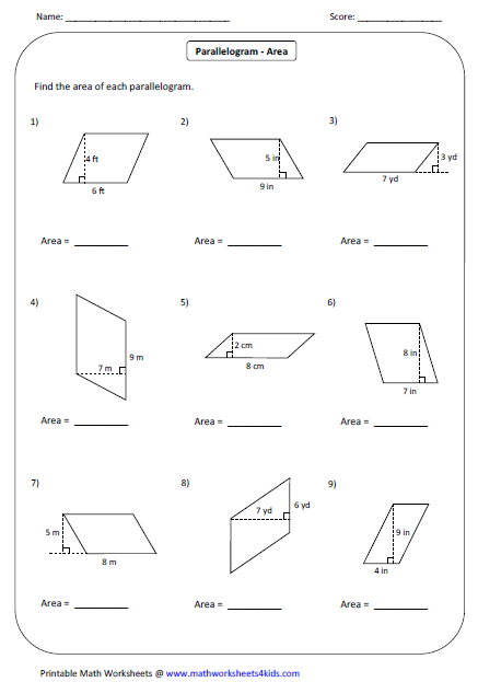 Area Of A Parallelogram Worksheet: Quadrilateral Worksheets,