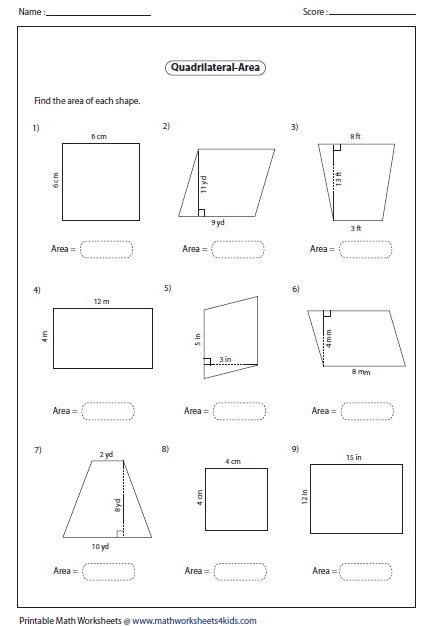 Printables Area Of A Trapezoid Worksheet quadrilateral worksheets area of level 1