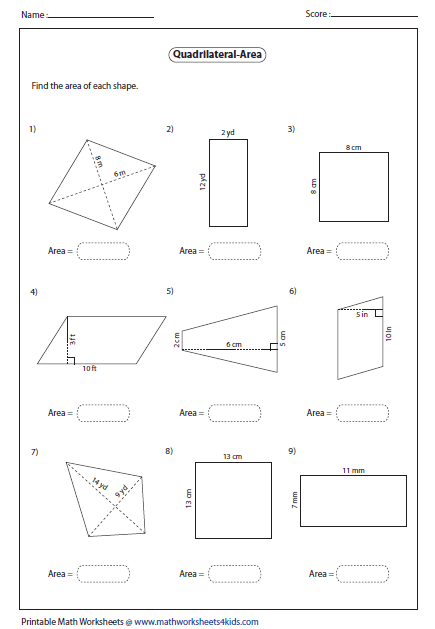 Area Of A Rhombus Worksheet Free Worksheets Library | Download and ...