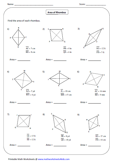 Worksheets Drawing Rhombus Worksheet quadrilateral worksheets to find the area of rhombus multiply diagonals and divide product by 2