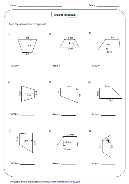 Printables Area Of Trapezoid Worksheet quadrilateral worksheets area of trapezoid