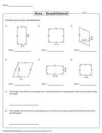 Area of Quadrilaterals Worksheets