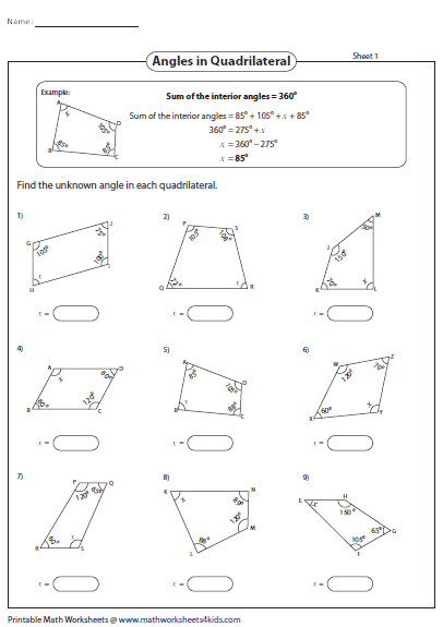 Properties Of Quadrilaterals Worksheet Doc Kidz Activities