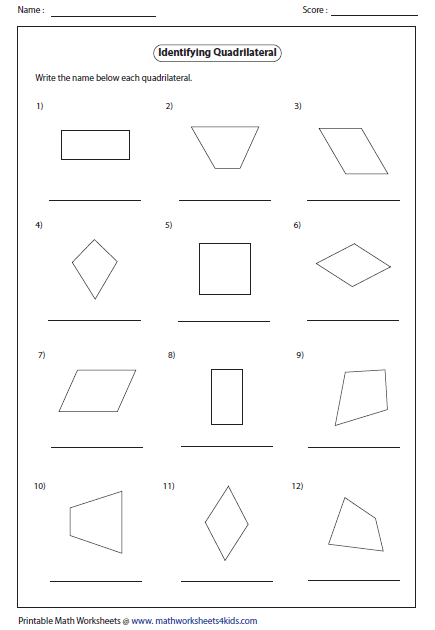 Identify the type for each quadrilateral  The worksheets contain    Quadrilateral Properties Worksheet