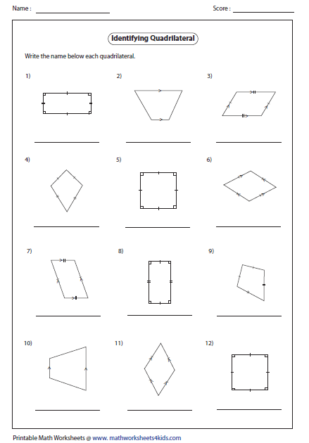 Worksheet Quadrilaterals Worksheet quadrilateral worksheets name each type 2