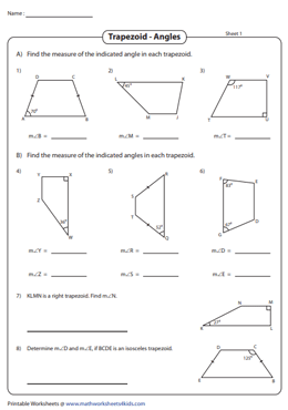 Find the Indicated Angles of Trapezoids