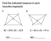Isosceles Trapezoids | Find the indicated length