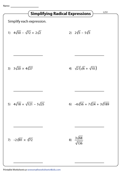 Simplifying Radical Expressions - Level 2